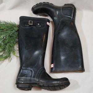 Hunter Black Original Gloss Waterproof Boots 6M/7F